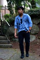 black Converse shoes - black skinny fit H&M jeans