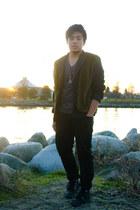 dark green thrifted vintage vest - black Converse shoes - black Levis jeans