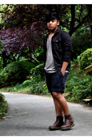 doc martens boots - Zara jacket - Armani Exchange shirt - Esprit shorts