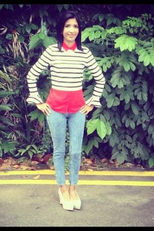 ivory Zara top - skinny jeans Bershka jeans