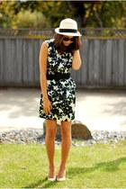 black Forever 21 dress - eggshell Aldo hat - beige Vince Camuto heels