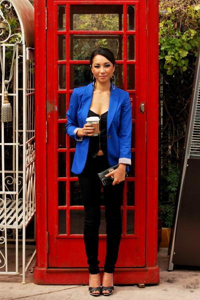 blue H&M blazer - black PacSun jeans - black Urban Outfitters top