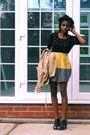 Black-matalan-jumper-gold-primark-skirt-black-ebay-shoes-beige-only-coat-
