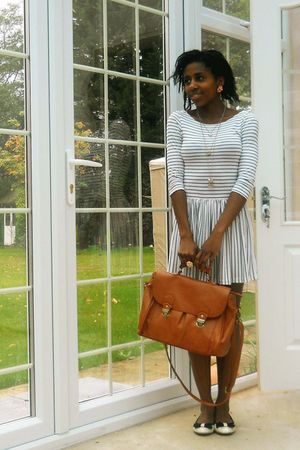 white stripe Topshop dress - white bow Primark shoes - orange satchel -- bag