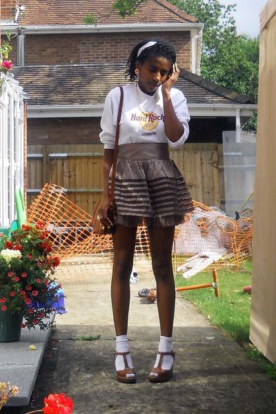 purple Primark skirt - brown asos shoes - white -- socks - white hard rock - bro
