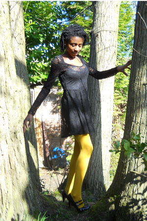 black Topshop dress - gold Accessorize tights - black Dorothy Perkins shoes