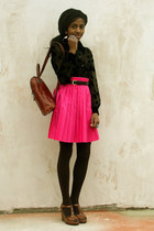 tawny back pack vintage bag - hot pink pleated Urban Outfitters skirt - black po