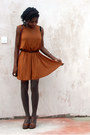 Bronze-shift-asos-dress-tawny-cross-vintage-bag-light-brown-thigh-high-tesco