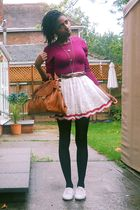 white Topshop skirt - white Ebay shoes - brown asos