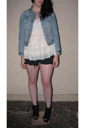 blue Heritage 1981 jacket - white Forever21 top - black idk shorts - black Chgrl