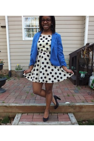 cream polka dot Forever 21 dress - blue blue thrifted blazer