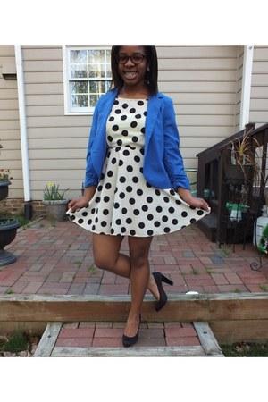 cream polka dot Forever 21 dress - blue blue thrifted blazer