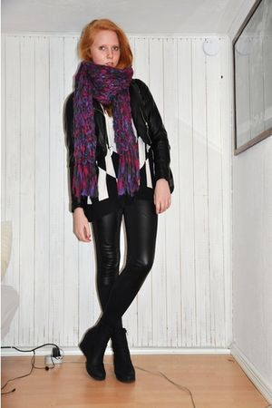 purple Monki scarf - black H&M dress - black H&M jacket - black Monki leggings -