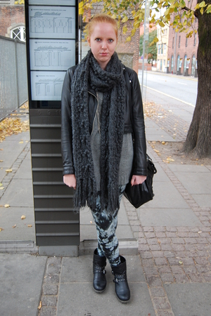 H&amp;M scarf - H&amp;M jacket - Monki leggings - Aldo accessories - GINA TRICOT sweater