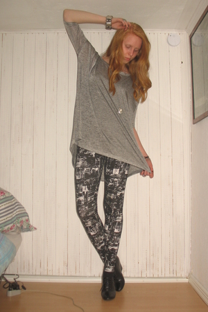 silver H&M bracelet - black wedge H&M shoes - black patterned Monki leggings
