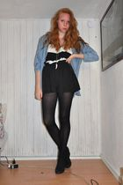blue Zara shirt - black American Apparel top - black GINA TRICOT shorts - black