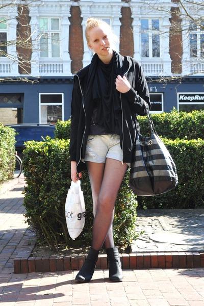 black Zara scarf - gray GINA TRICOT top - black GINA TRICOT blouse - blue Zara s