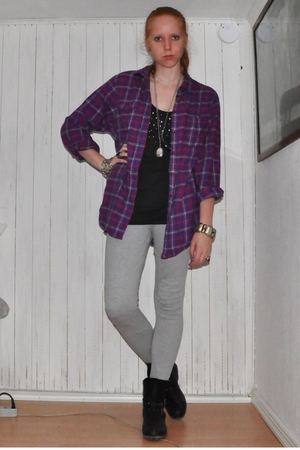 black Din Sko boots - gray H&M Trend pants - purple Monki shirt - gray h&m divid