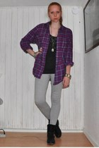 black Din Sko boots - gray H&M Trend pants - purple Monki shirt - gray h&m divid