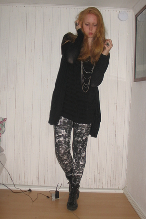black vagabond boots - black GINA TRICOT cardigan - black H&M dress - black Monk
