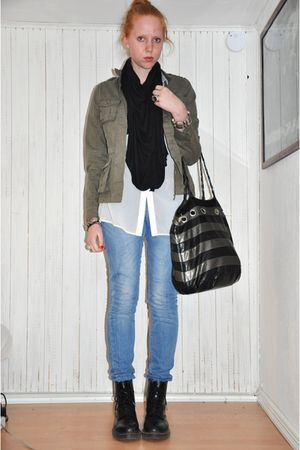 green GINA TRICOT jacket - black Zara scarf - white Monki shirt - blue Zara jean