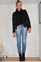 black H&M jacket - gray GINA TRICOT cardigan - black Zara scarf - blue Zara jean