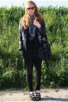 gray TREND scarf - black H&M jacket - black Topshop accessories - black H&M pant