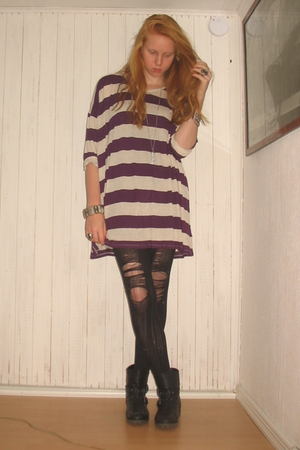 purple Monki dress - black Din Sko boots - silver H&M bracelet - silver H&M brac