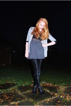 black mesh lindex top - black wedge H&M shoes - black velvet Monki leggings