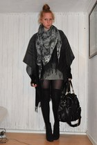 dark gray Glitter accessories - black asos socks - black sbar boots - black Tops