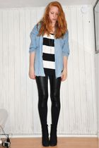black American Apparel top - black Monki leggings - black ShoeShi Bar boots - bl