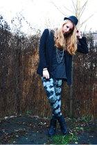 black simple H&M hat - black studded Din Sko boots - gray tie dye Monki leggings