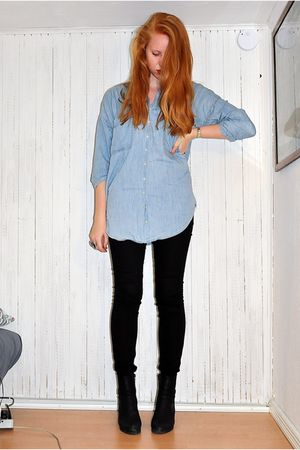 blue Zara shirt - black GINA TRICOT jeans - black ShoeShiBar boots - silver H&M