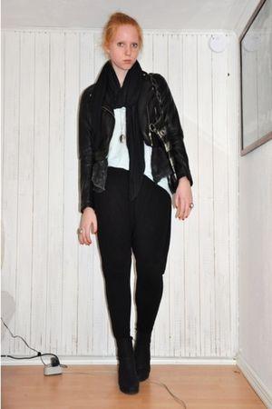 black H&M jacket - black Zara scarf - gray GINA TRICOT cardigan - black GINA TRI