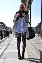 black Zara scarf - white Monki shirt - silver H&M accessories - black Monki legg