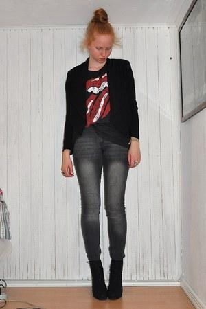 black H&M blazer - dark gray H&M t-shirt - gray GINA TRICOT jeans - black sbar b