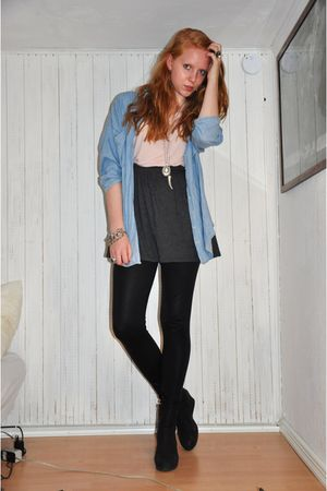blue Zara shirt - pink H&M t-shirt - gray American Apparel skirt - black H&M leg