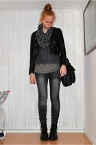 charcoal gray GINA TRICOT jeans - charcoal gray Topshop blouse - heather gray To