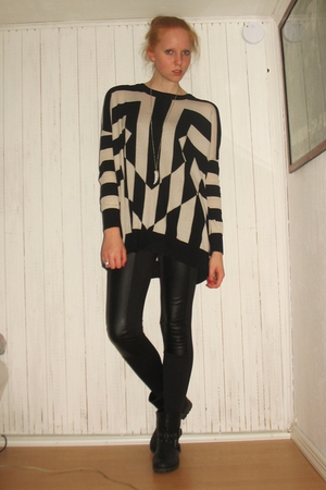 black H&M Trend blouse - black Monki leggings - black Din Sko boots - silver H&M
