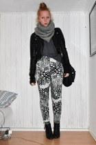 Monki scarf - H&M jacket - H&M pants - tiamo boots - Topshop blouse - Topshop ba