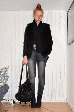 black Vila vest - black H&M jacket - charcoal gray GINA TRICOT jeans - black Sec
