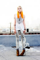 silver holographic Kill City jeans - camel Dolce Vita boots
