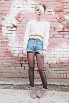 tan Forever 21 boots - dark brown vintage hat - off white H&M sweater