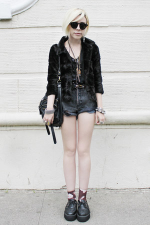 black fur vintage jacket - black Anarchic shoes - puce Urban Outfitters socks