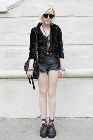 black fur vintage jacket - black Anarchic shoes - puce Urban Outfitters socks