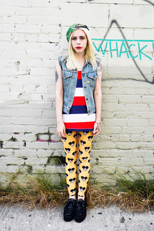 yellow Lovelysally leggings - black Anarchic shoes - green vintage hat