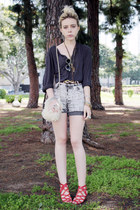 red vintage shoes - charcoal gray vintage shirt - heather gray vintage shorts