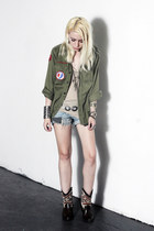 dark brown Wanted shoes - olive green vintage shirt - sky blue vintage shorts