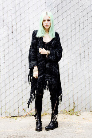 black tba boots - black romwe leggings - black cardigan