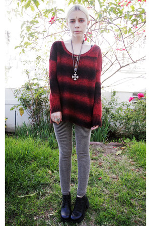 crimson striped Urban Outfitters sweater - black platform Deena &amp; Ozzy shoes
